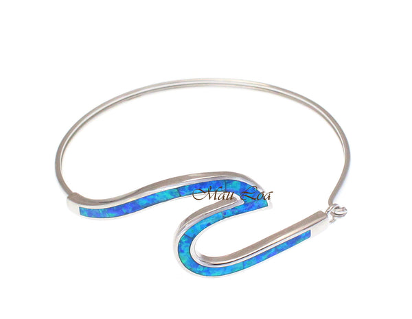 925 Sterling Silver Inlay Blue Opal Hawaiian Ocean Wave Bangle 7""