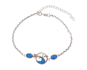 "925 Sterling Silver Hawaiian Ocean Wave Oval Blue Opal Plate Anklet 8.5"" + 2"""