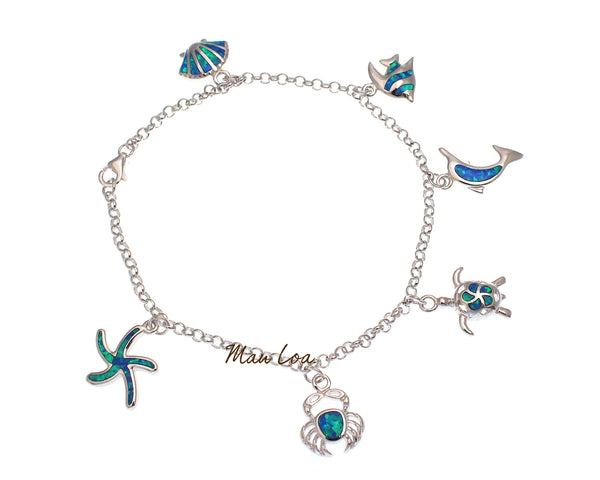 925 Silver Hawaiian Starfish Crab Honu Dolphin Fish Shell Blue Opal Bracelet 7.5""