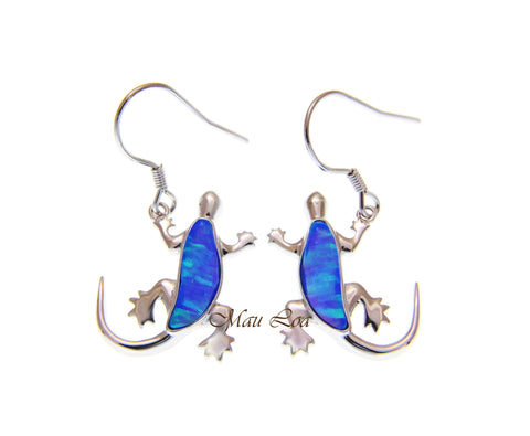 925 Sterling Silver Blue Opal Hawaiian Gecko Lizard Wire Hook Dangle Earrings