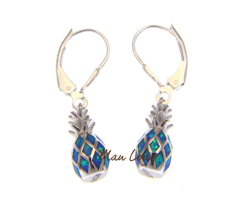 925 Sterling Silver Hawaiian Pineapple Blue Synthetic Opal Leverback Earrings