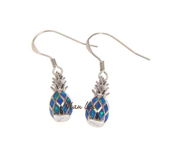 925 Sterling Silver Hawaiian Pineapple Blue Synthetic Opal Hook Wire Earrings