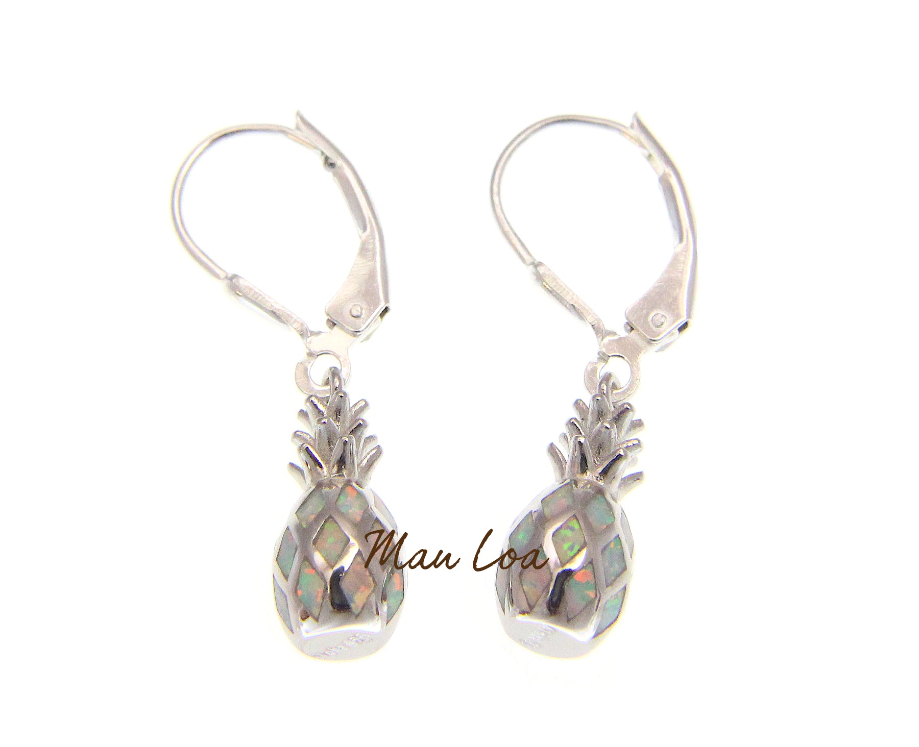 925 Sterling Silver Hawaiian Pineapple White Synthetic Opal Leverback Earrings