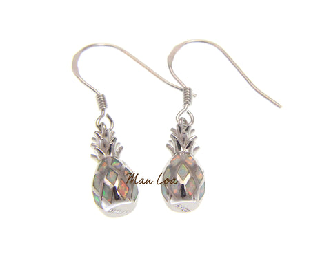 925 Sterling Silver Hawaiian Pineapple White Synthetic Opal Hook Wire Earrings