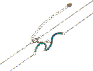 "925 Sterling Silver Hawaiian Ocean Wave Blue Opal Necklace Chain Included 16""+2"""