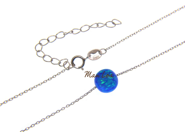 "925 Sterling Silver Blue Opal 8mm Round Ball Necklace Chain Included 17""+2"""