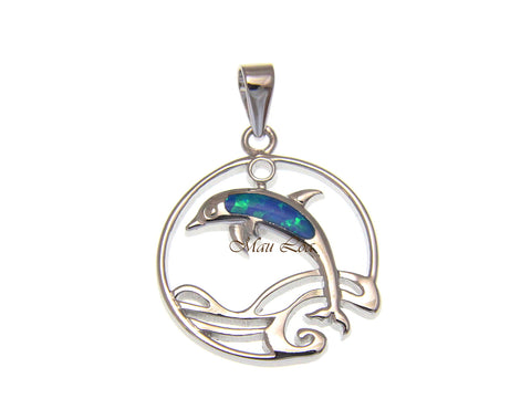 925 Sterling Silver Synthetic Blue Opal Hawaiian Dolphin Ocean Wave Pendant