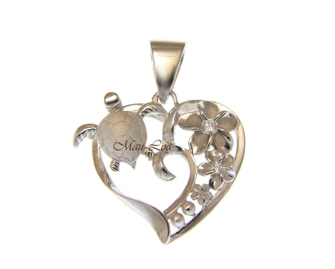 925 Silver Rhodium Hawaiian Sea Turtle Honu Plumeria Flower CZ Heart Pendant