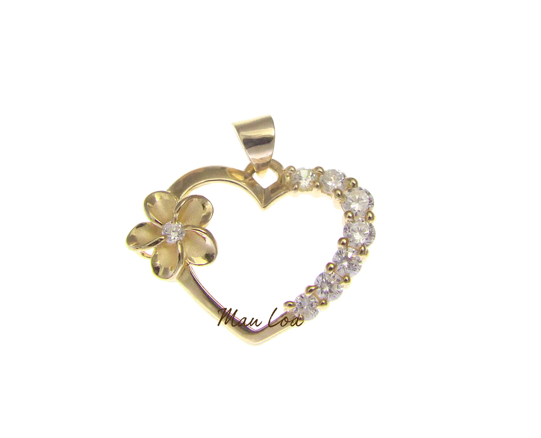 925 Sterling Silver Hawaiian Yellow Gold Plated Plumeria Flower CZ Heart Pendant