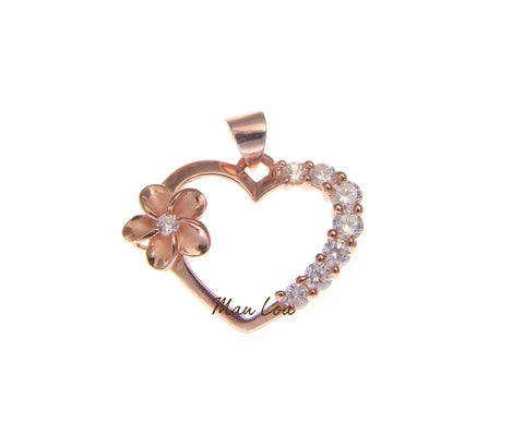 925 Sterling Silver Hawaiian Rose Gold Plated Plumeria Flower CZ Heart Pendant
