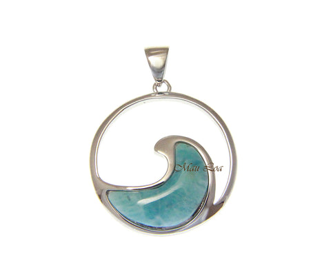 925 Sterling Silver Hawaiian Ocean Wave Natural Blue Larimar Pendant Charm