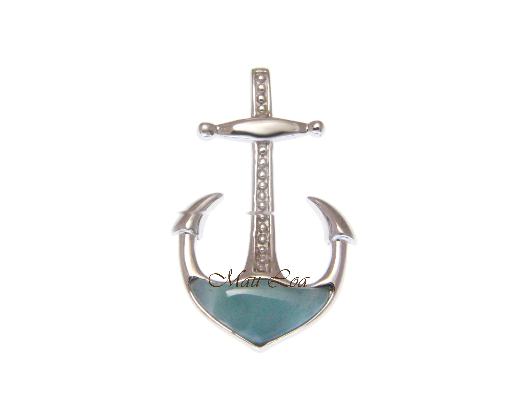 925 Sterling Silver Hawaiian Anchor Natural Blue Larimar Pendant Charm