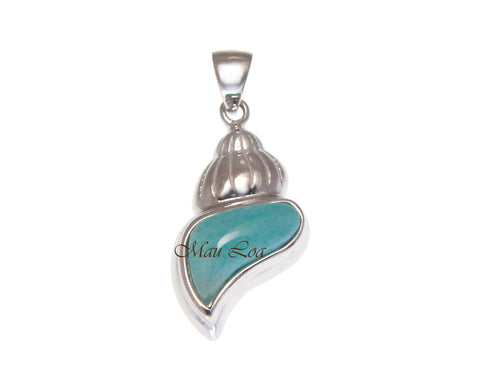 925 Sterling Silver Hawaiian Conch Shell Natural Blue Larimar Pendant Charm