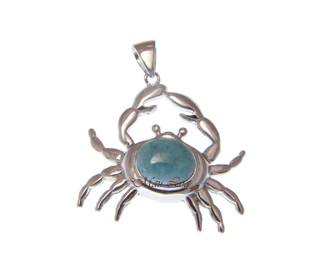 925 Sterling Silver Hawaiian Crab Natural Blue Larimar Pendant Charm