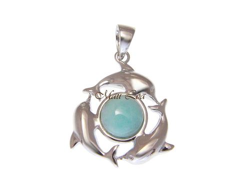 925 Sterling Silver Hawaiian Dolphin Natural Blue Larimar Pendant Charm