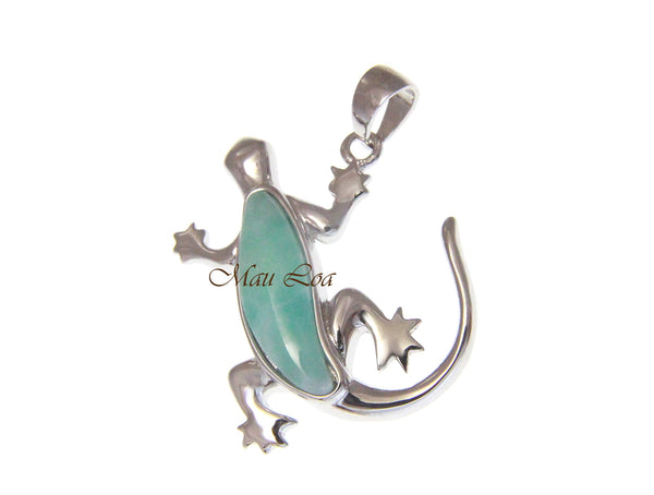 925 Sterling Silver Hawaiian Gecko Lizard Natural Blue Larimar Pendant Charm