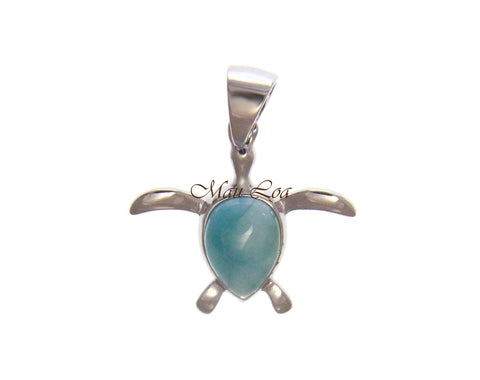 925 Sterling Silver Natural Blue Larimar Hawaiian Honu Turtle Pendant Charm