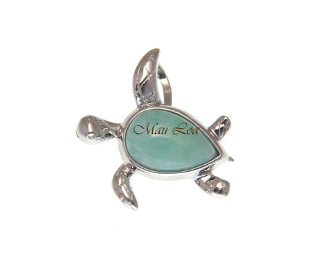 925 Sterling Silver Natural Blue Larimar Hawaiian Honu Turtle Slider Pendant