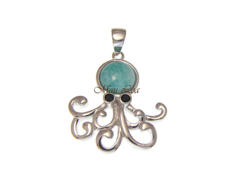 925 Sterling Silver Natural Blue Larimar Hawaiian Octopus CZ Eye Pendant Charm
