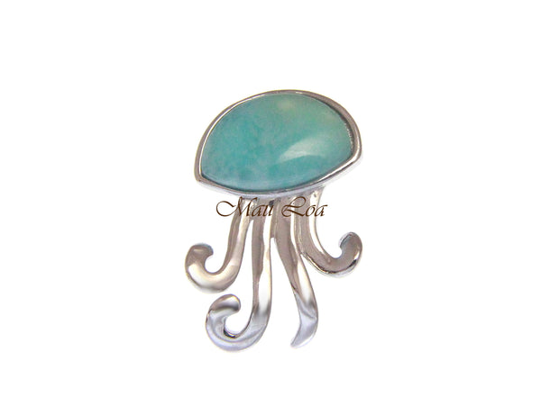 925 Sterling Silver Hawaiian Jellyfish Natural Blue Larimar Pendant Charm