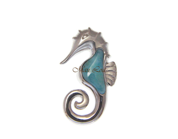 925 Sterling Silver Hawaiian Seahorse Natural Blue Larimar Pendant Charm Medium