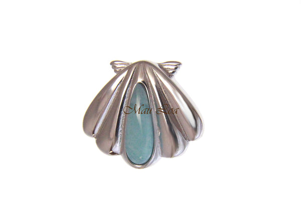 925 Sterling Silver Natural Blue Larimar Hawaiian Sunrise Shell Slider Pendant