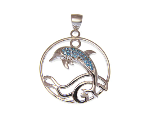 925 Sterling Silver Genuine Blue Topaz Hawaiian Dolphin Ocean Wave Pendant