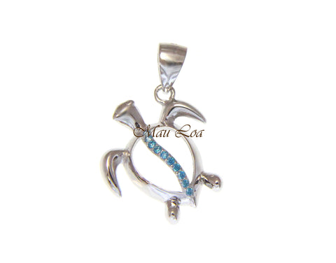 925 Sterling Silver Genuine Blue Topaz Hawaiian Sea Turtle Honu Pendant