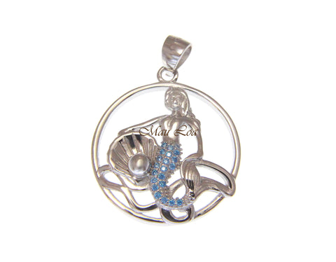 925 Sterling Silver Blue Topaz Hawaiian Mermaid Pearl Shell Oyster Pendant