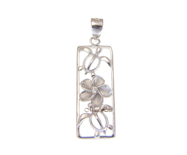 925 Sterling Silver Rhodium Hawaiian CZ Plumeria Flower Honu Sea Turtle Pendant