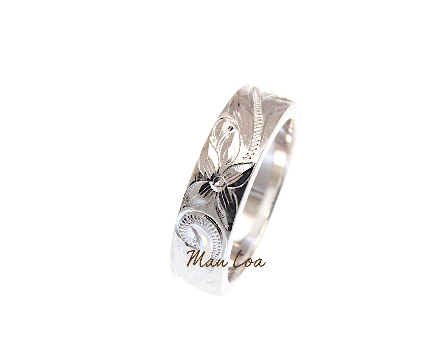 925 Sterling Silver 6mm Hawaiian Scroll Hand Engraved Smooth Edge Thick Ring