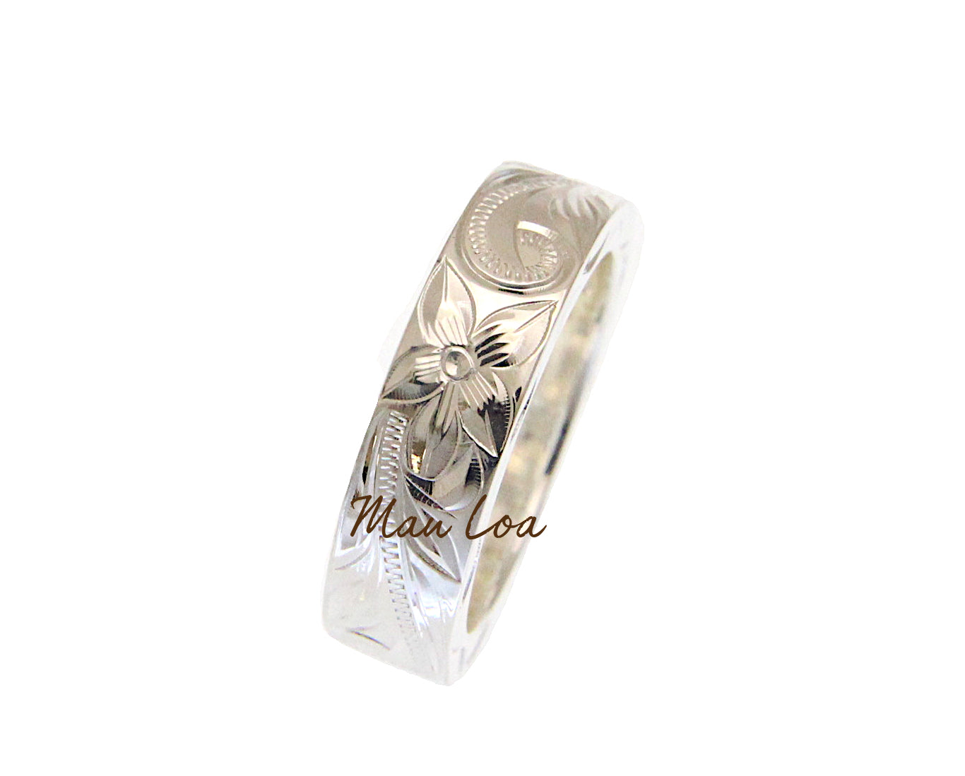 925 Sterling Silver 6mm Hawaiian Scroll Hand Engraved on Side Heavy Ring Band