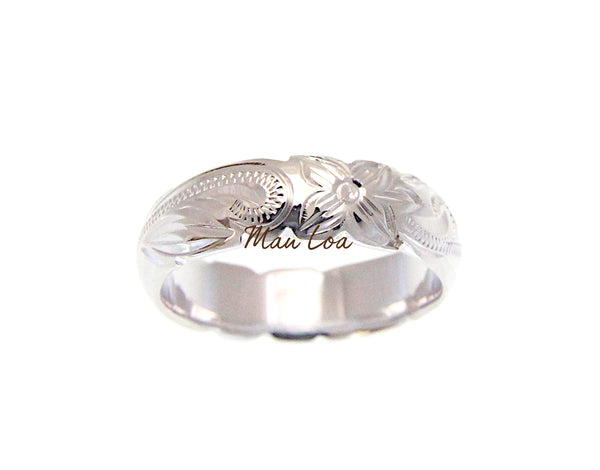 925 Sterling Silver 6mm Hawaiian Scroll Engraved Cut Out Edge Barrel Ring Band