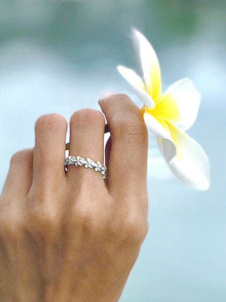 925 Sterling Silver Hawaiian Plumeria Flower Lei Ring #3-10