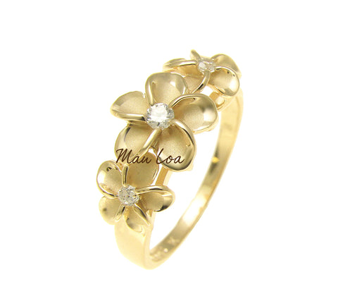 925 Sterling Silver Hawaiian Scroll Yellow Gold Plated CZ 3 Plumeria Flower Ring #3-10