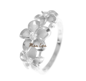 925 Sterling Silver Hawaiian Scroll Rhodium Plated CZ 3 Plumeria Flower Ring #3-10