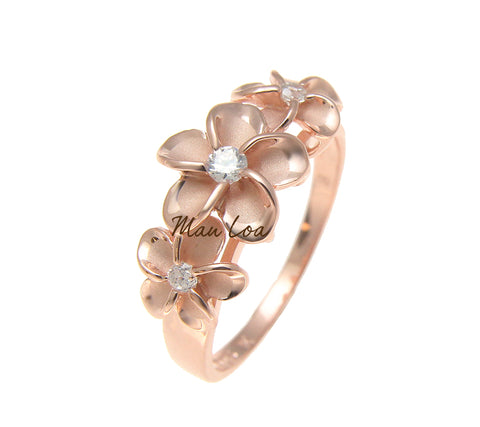 925 Sterling Silver Hawaiian Scroll Pink Rose Gold Plated CZ 3 Plumeria Flower Ring #3-10