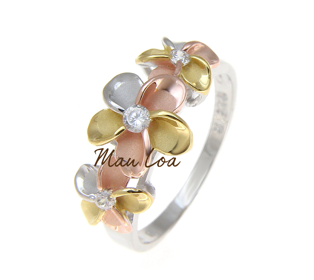 925 Sterling Silver Hawaiian Scroll Tricolor Gold Plated CZ 3 Plumeria Flower Ring #3-10