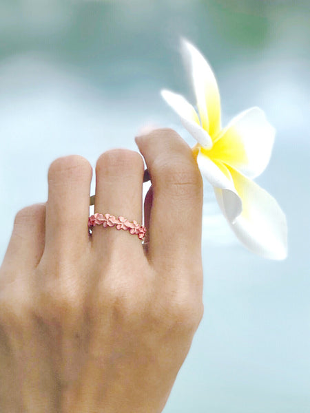925 Sterling Silver Pink Rose Gold Plated Hawaiian Plumeria Flower Lei Ring #3-10