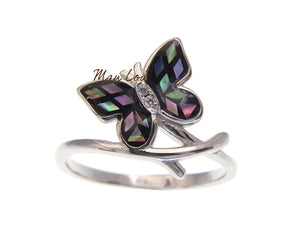 925 Sterling Silver Hawaiian Butterfly CZ Abalone Paua Shell Ring Size 5-10