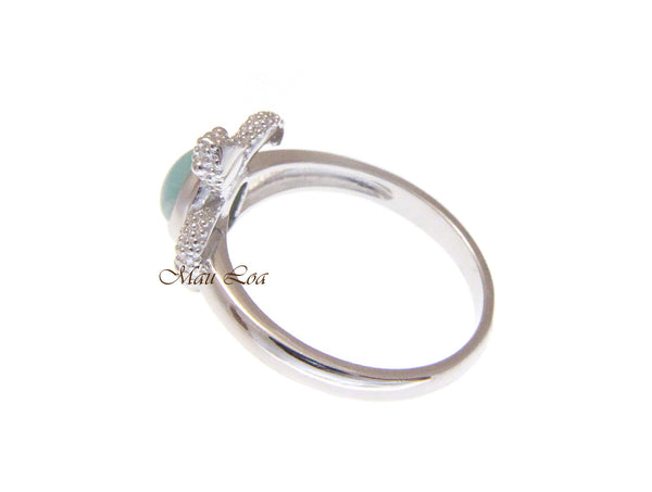 925 Sterling Silver Hawaiian Honu Sea Turtle Blue Larimar Ring Size 5-10