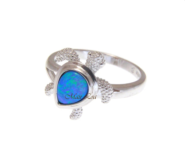 925 Sterling Silver Hawaiian Honu Sea Turtle Blue Opal Ring Size 5-10
