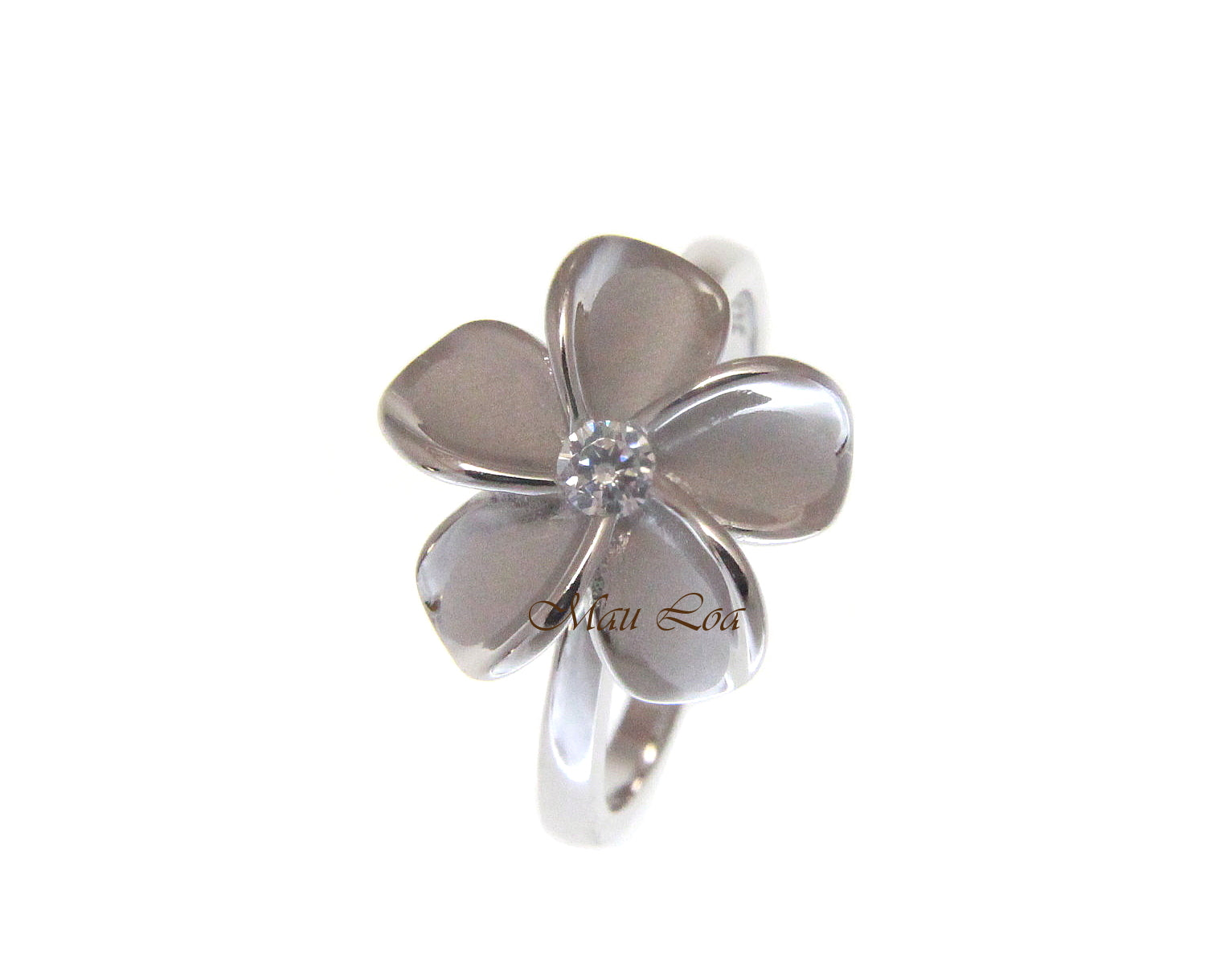 925 Sterling Silver Hawaiian Plumeria Flower CZ Spinning Ring Size 5-10