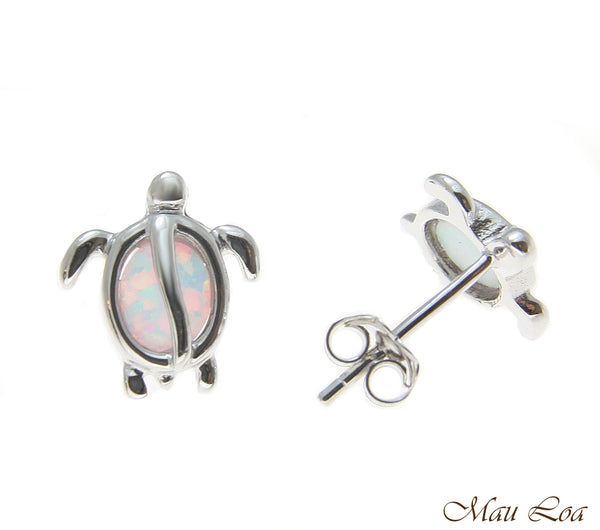 925 Sterling Silver Rhodium Hawaiian Honu Turtle White Opal Post Stud Earrings