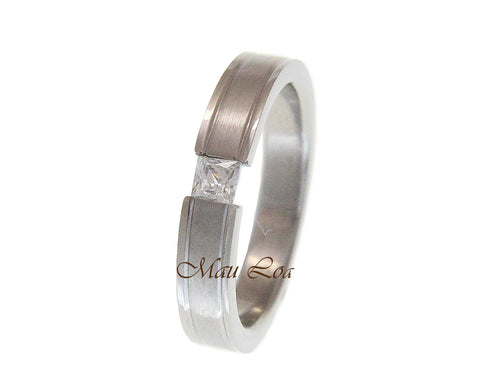 Stainless Steel CZ Cubic Zirconia 4mm Wedding Band Ring Size 5-12