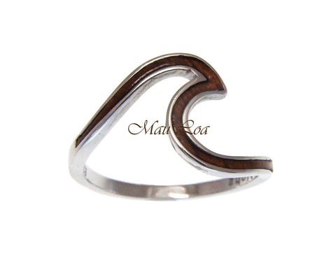925 Sterling Silver Hawaiian Ocean Wave Shape Koa Wood Ring Size 5-10