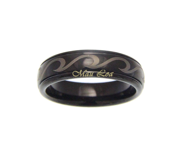 Tungsten Black 6mm Hawaiian Ocean Wave Ring Comfort Fit Size 5-14