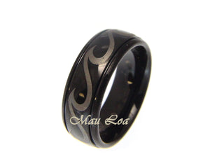 Tungsten Black 8mm Hawaiian Ocean Wave Ring Comfort Fit Size 5-14
