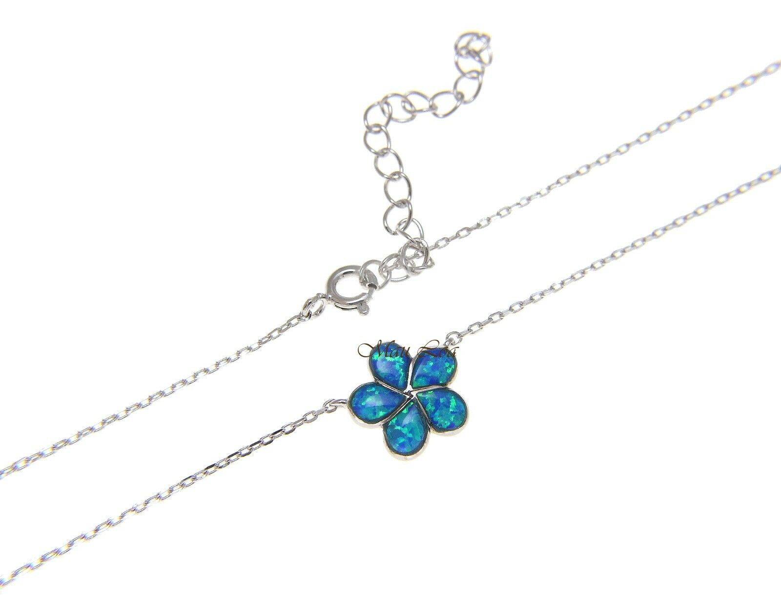 "925 Silver Hawaiian Plumeria Flower Blue Opal Necklace Chain Included 18""+2"""