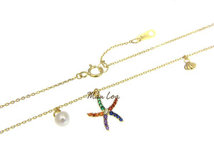 925 Silver Yellow Hawaiian Starfish Multi CZ Pearl Necklace Chain Included 16+1""
